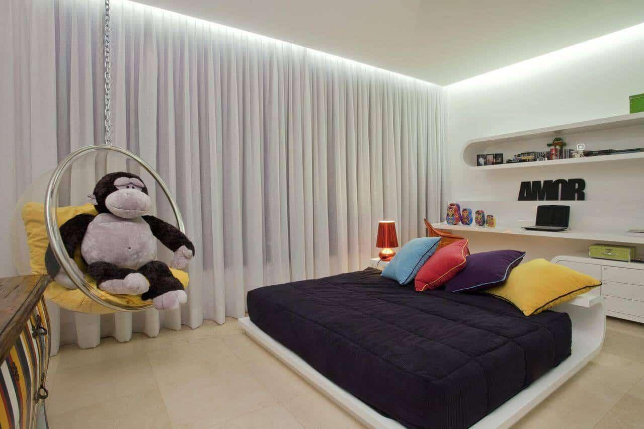 quarto moderno com sanca de luz invertida