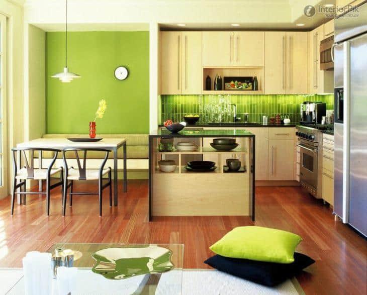 Decoração de cozinha com verde claro