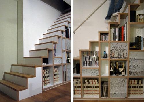 escada e estante de marcenaria