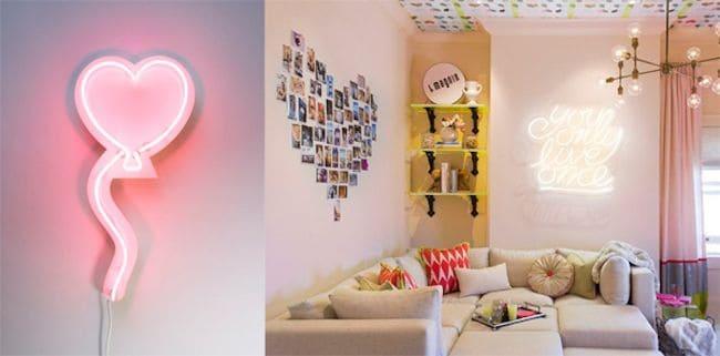 Neon divertido de coração e frase na sala