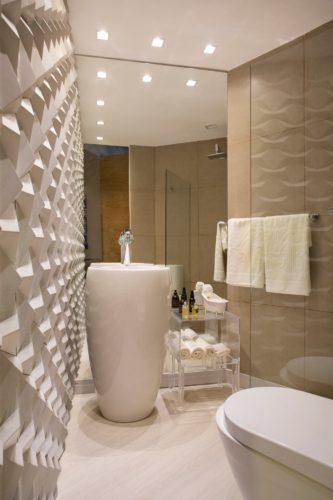 Banheiro com parede 3D