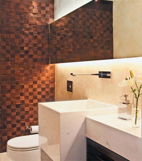Decoração diferente no lavabo moderno