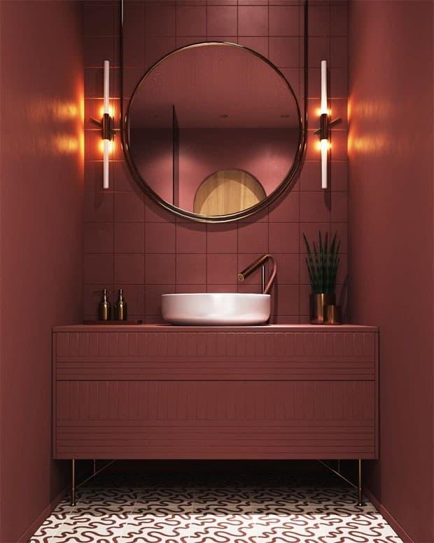 Decoração de lavabo na cor marsala