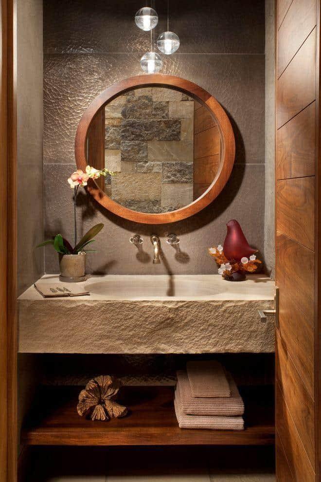 Decoração rústica e elegante no lavabo