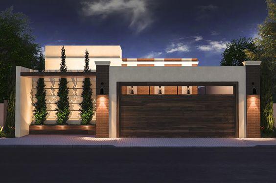 casa moderna com planta iluminacao no muro