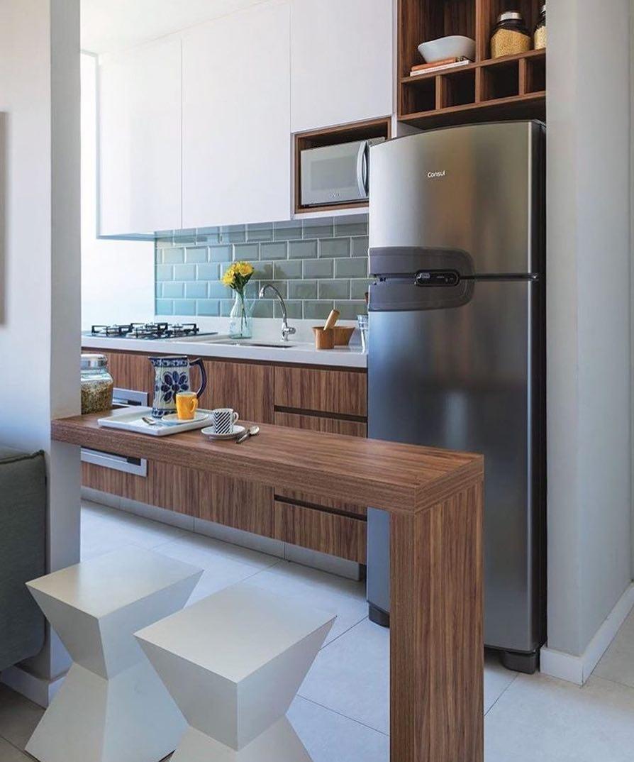 cozinha madeira e branco