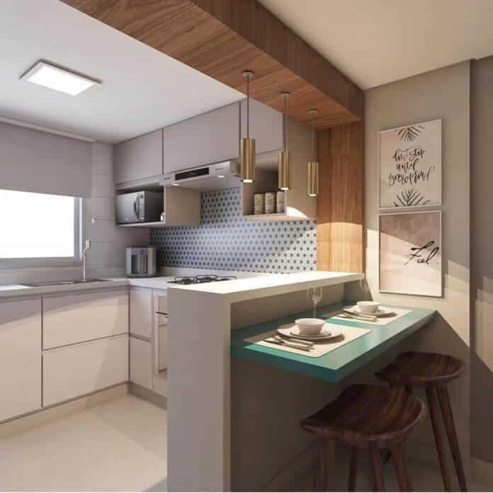 bancada de cozinha divisoria colorida
