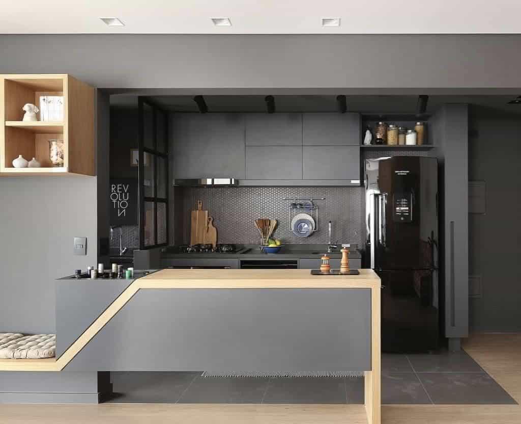 armários de cozinha cinza modernos