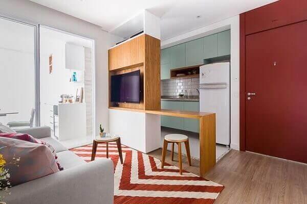 cozinha pequena colorida verde
