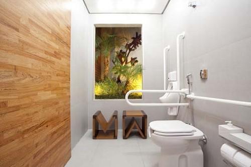 Banheiro acessível simples e moderno
