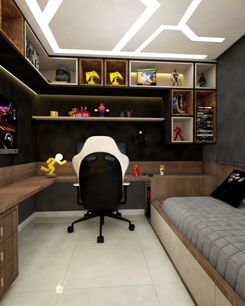 decoracao de quarto gamer moderno