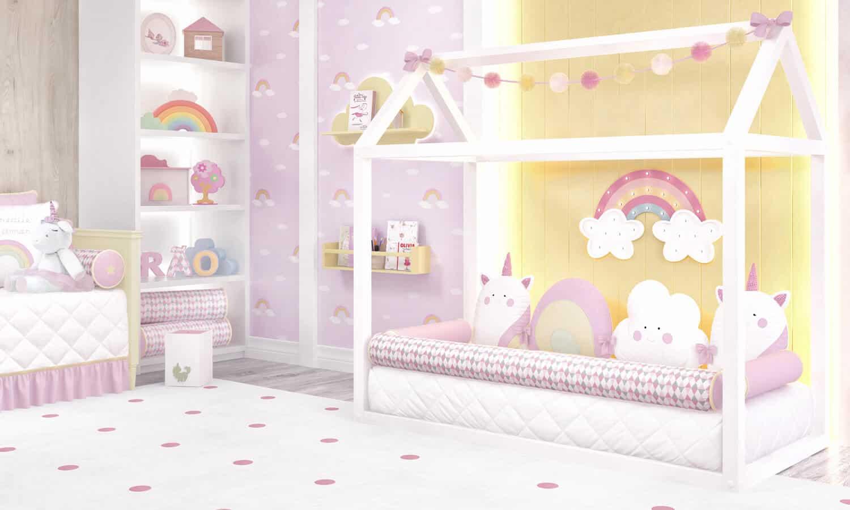 decoracao de cama nuvem e unicornio