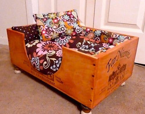 cama pet caixote de vinho