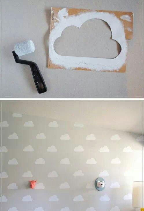 como fazer nuvens na parede