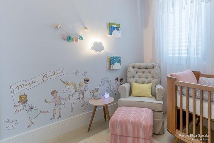 quarto de menina com nuvem luminaria