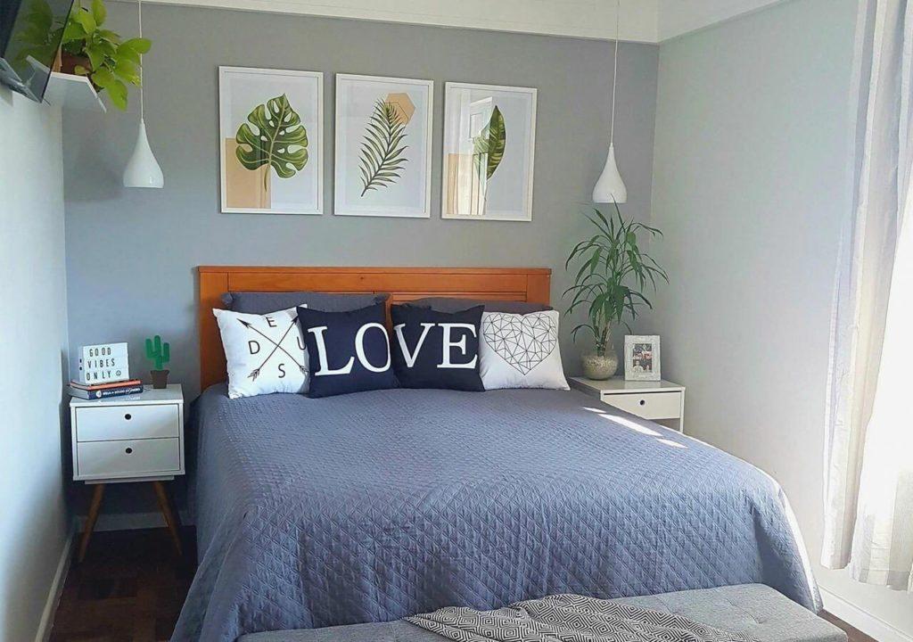 quarto de casal com decoracao jovem moderna