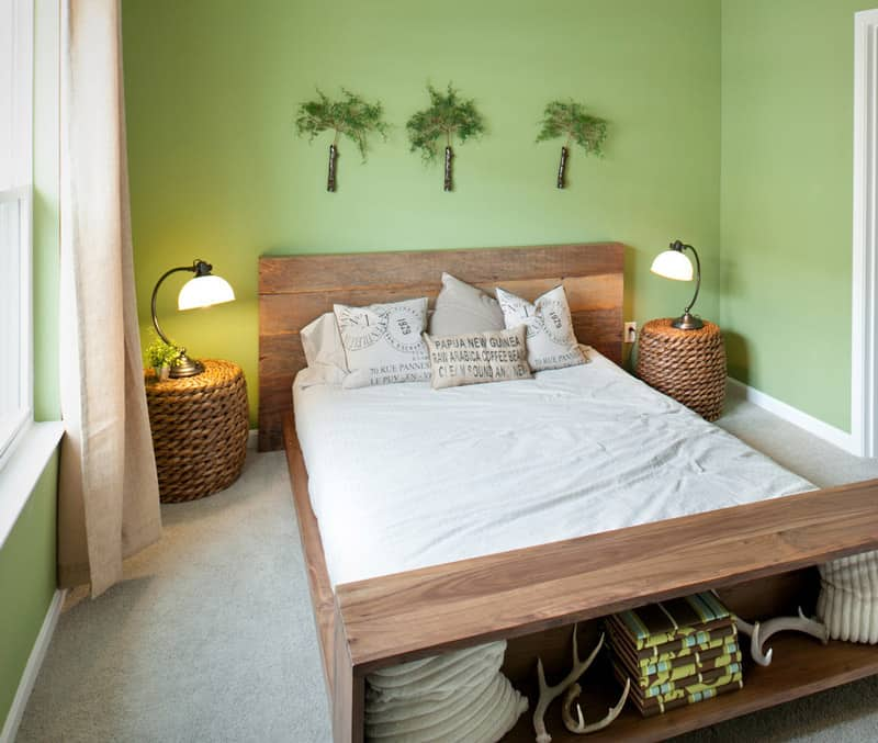 Decoração de quarto Zen com verde e madeira