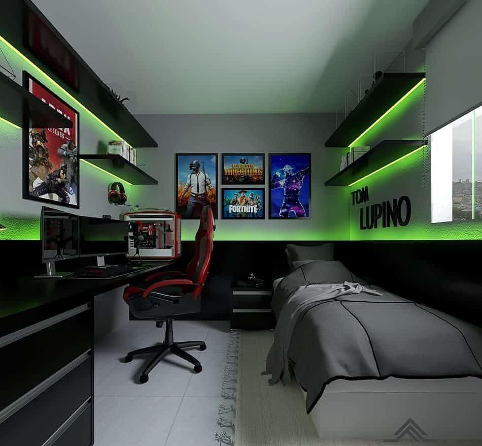 quarto gamer preto para adolescente