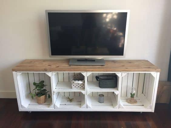 decoracao com caixote moderna para tv