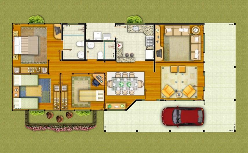 casa de 3 quartos com sala grande de 3 ambientes