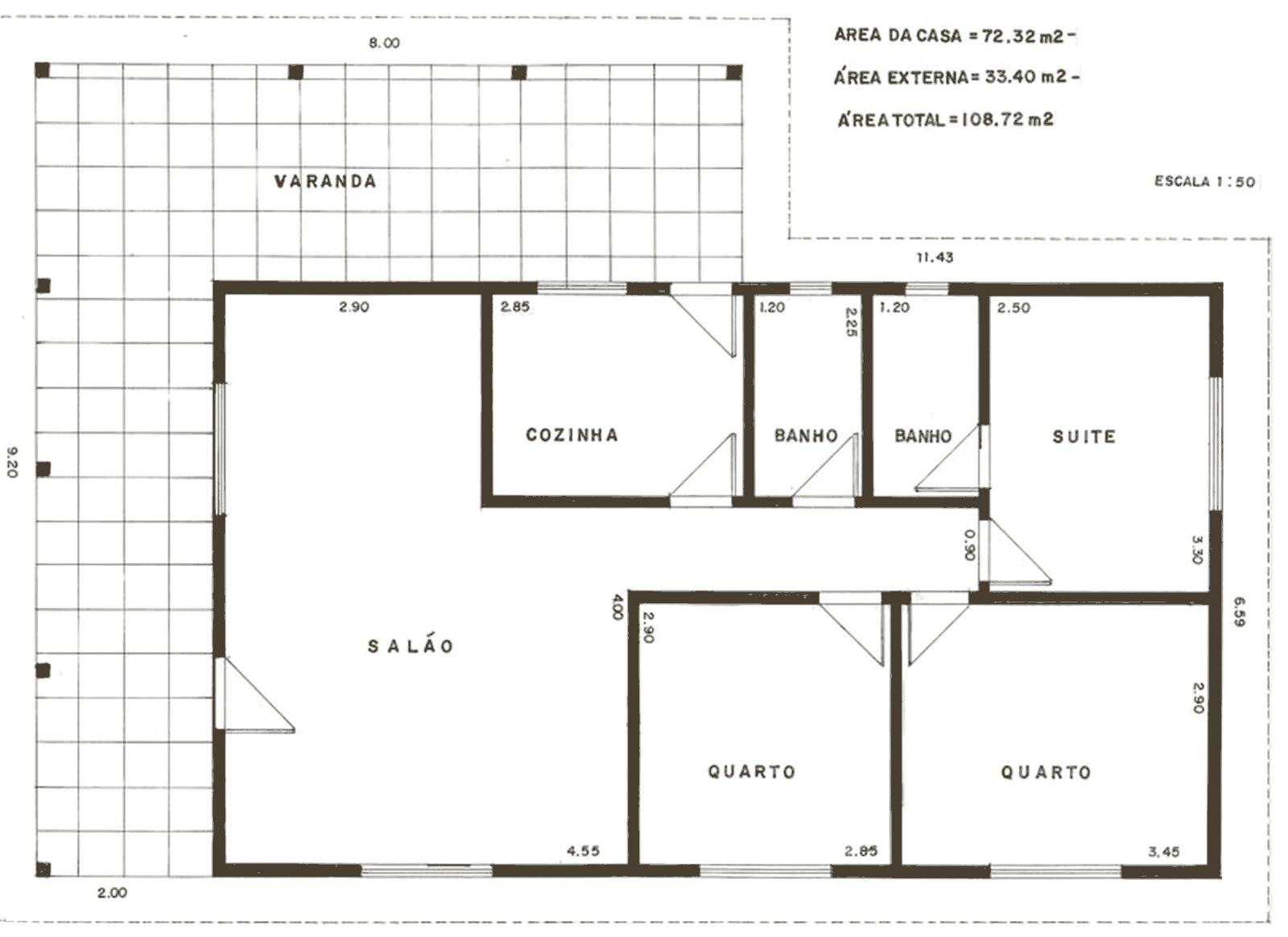 Planta baixa de casa com 108m² e varanda coberta