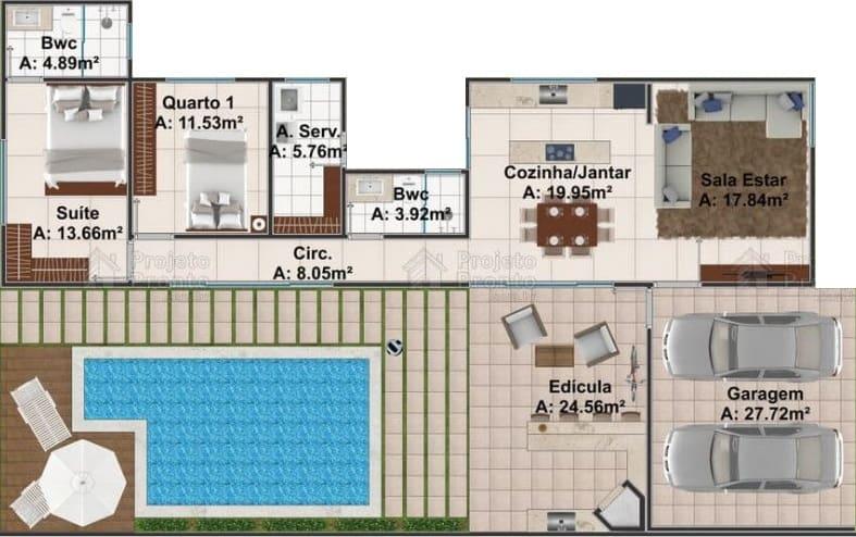 plantas de casas pequenas com piscina e espaco gourmet