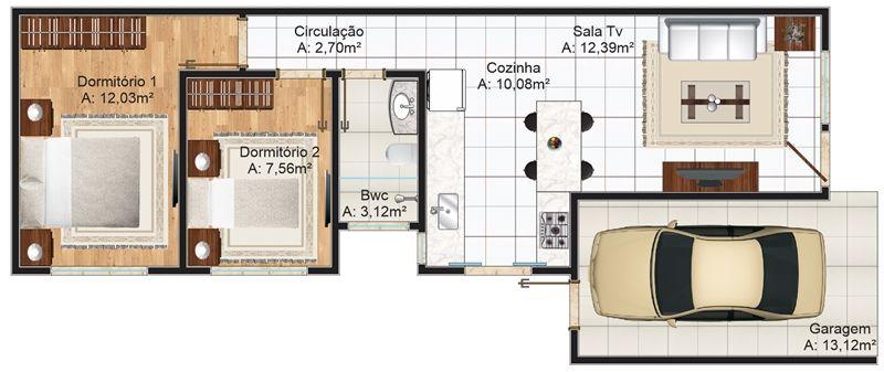 Sala pequena com uma garagem