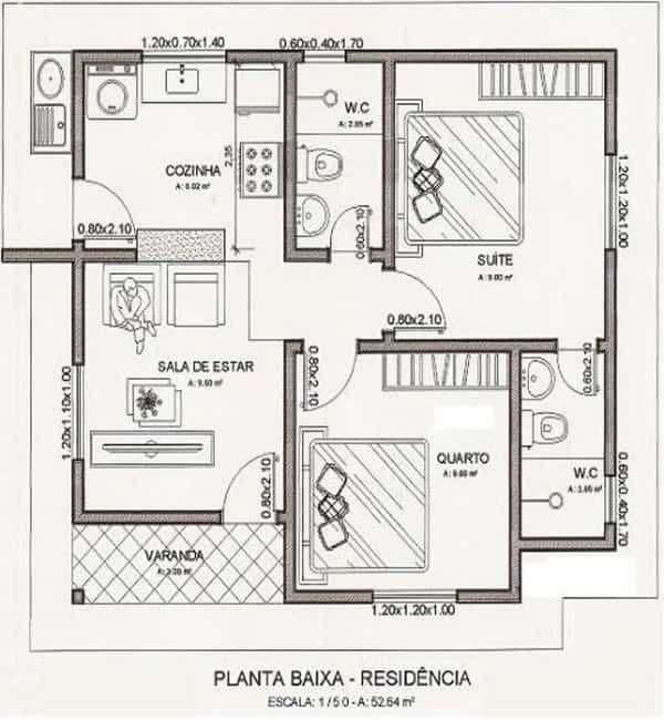 Casa com 2 quartos e 2 banheiros pequena