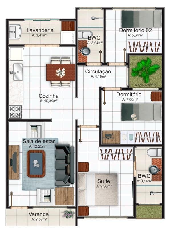 Casa pequena de 3 quartos com suíte e jardim de inverno