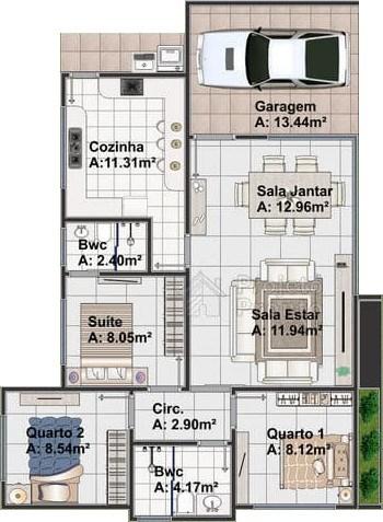 Planta de casa com 3 quartos e cozinha grande