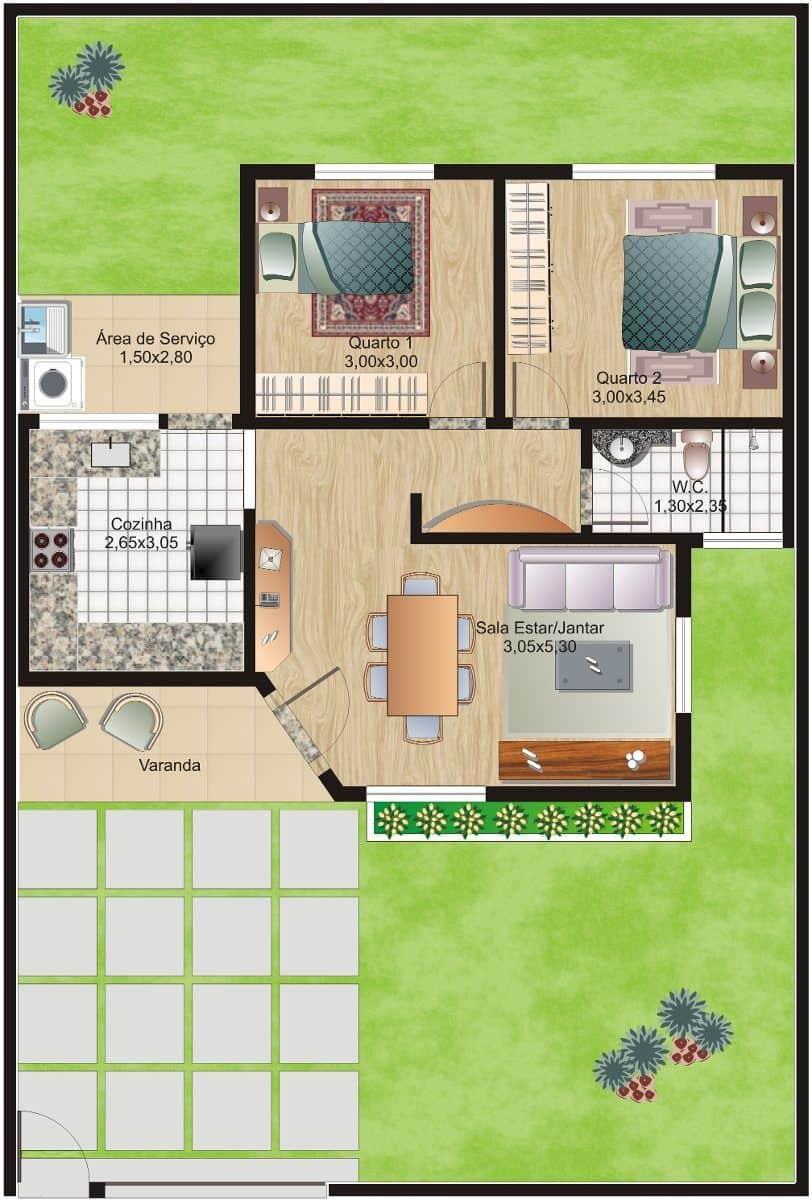 Planta de casa de 52m² com frente em ângulo com pequeno pátio