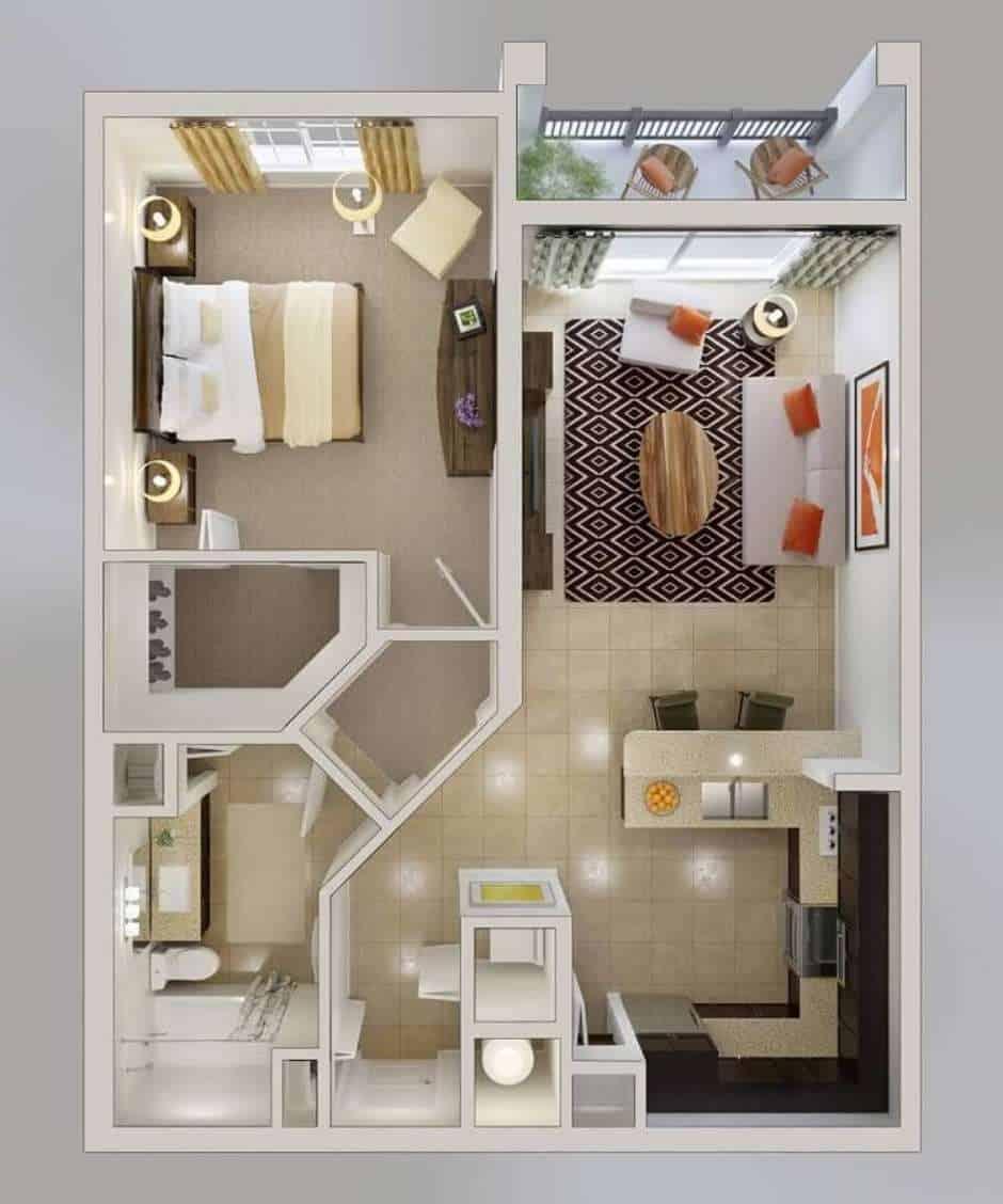 Planta de casa moderna com um quarto e closet