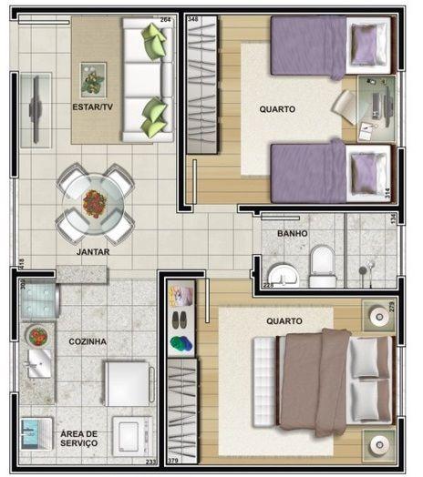 Casa pequena com 2 quartos e 1 banheiro