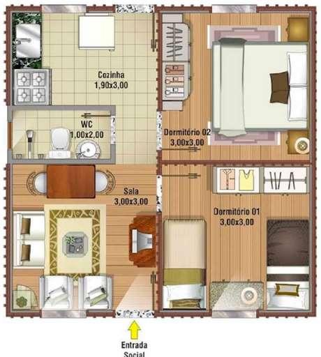 Projeto de casa muito pequena com 2 quartos