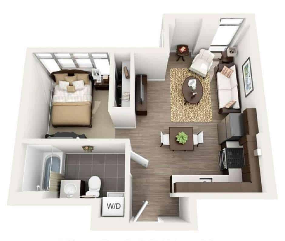 Casa de 1 quarto com armário embutido