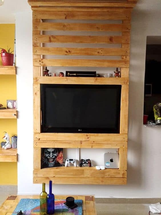 painel de pallet para video game e tv