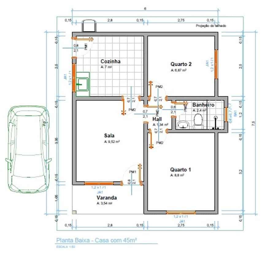 Casa com 45m² com garagem na lateral