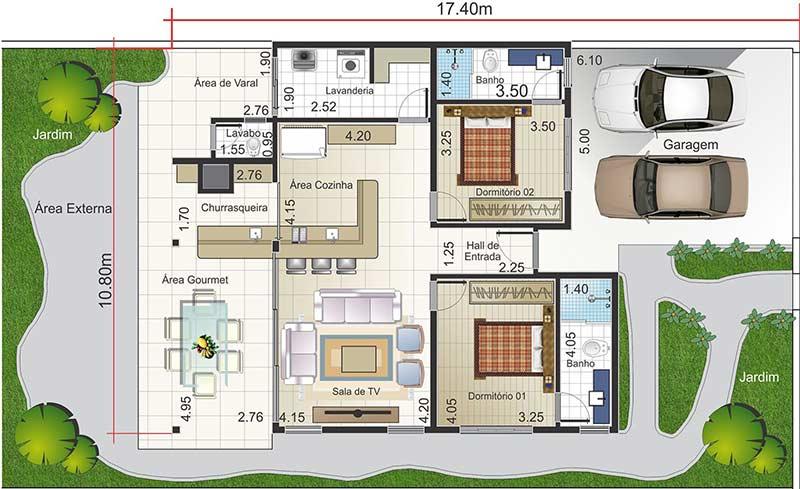 Planta de casa com 2 quartos e área gourmet com churrasqueira, 2 banheiros e 1 lavabo
