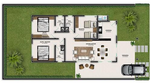 planta de casa com 3 quartos e 3 banheiros pequena