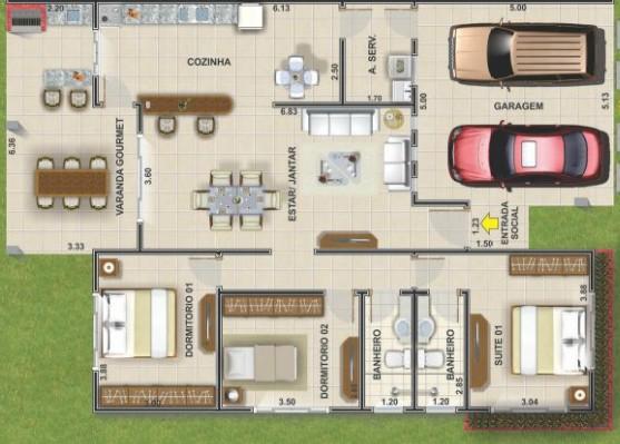 Casa com 3 quartos e 2 banheiros