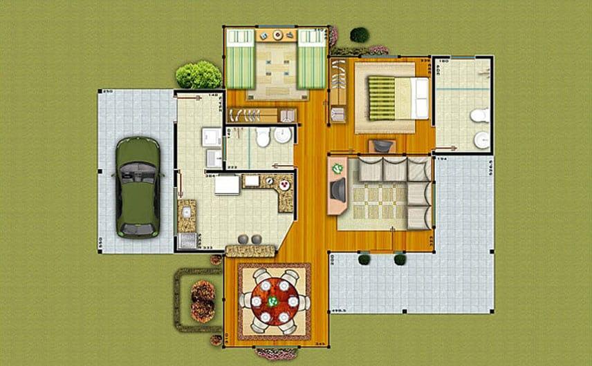 planta de casa com sala de jantar separada e 2 quartos