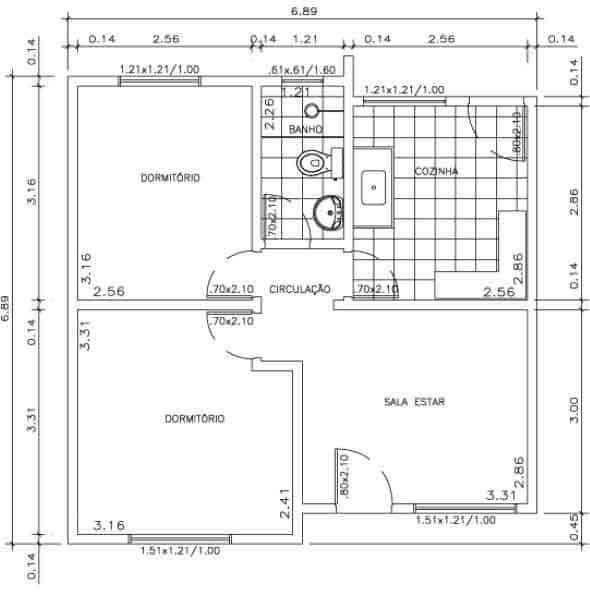 Casa com 2 quartos, sala, cozinha e banheiro
