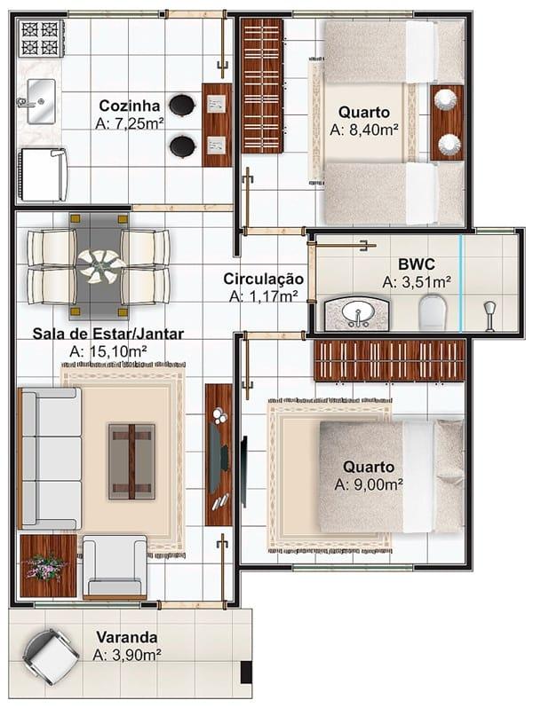 Casa de 2 quartos pequena com 50m²