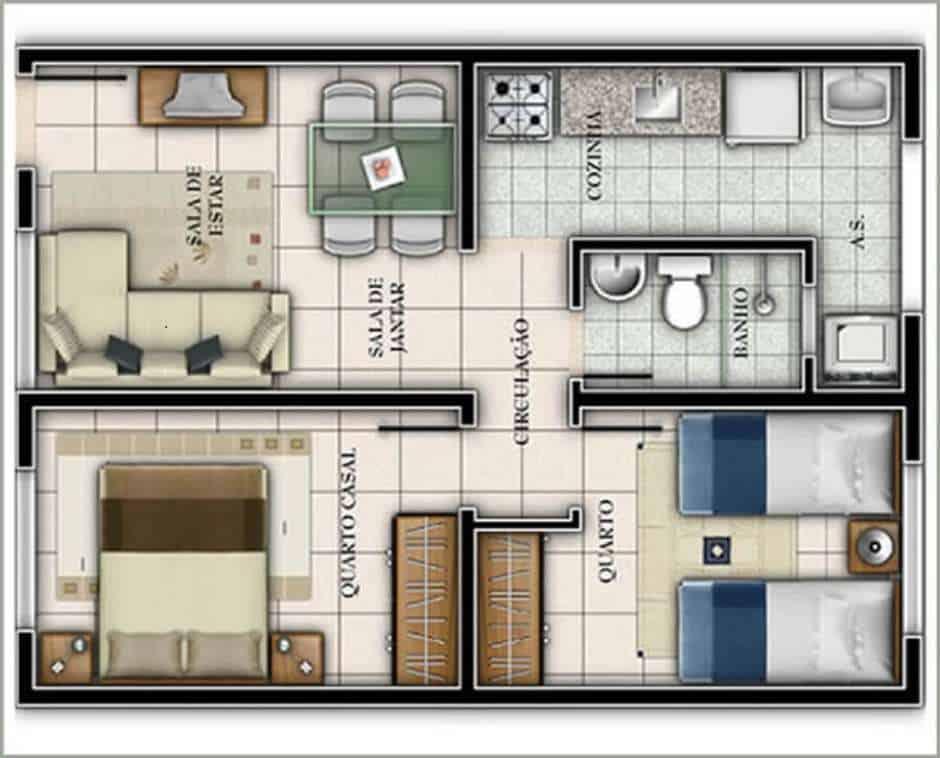 Casa quadrada com 2 quartos e 1 banheiro