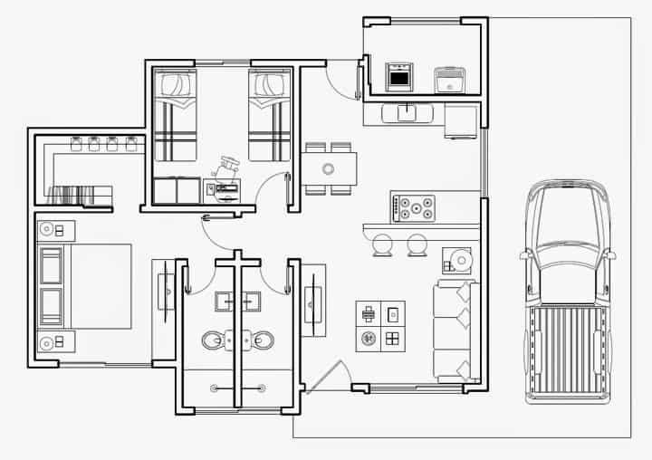 Planta de casa térrea com 2 quartos (sendo 1 suíte com closet) e 2 banheiros