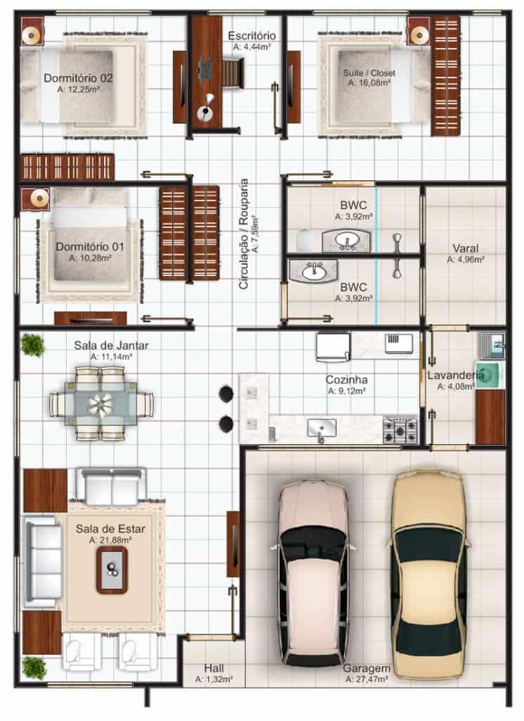 planta de casa com garagem para 2 carros 3 quartos e 1 escritorio