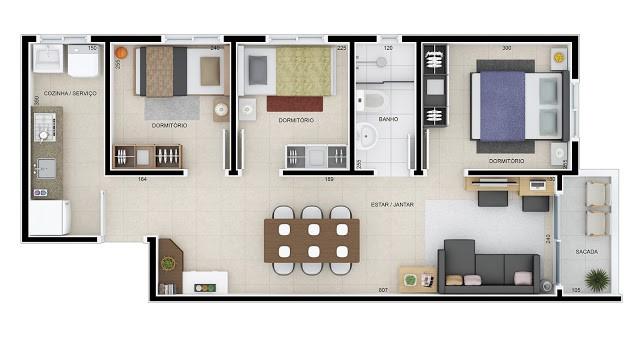 Planta baixa com sala linear e 3 quartos, 1 banheiro