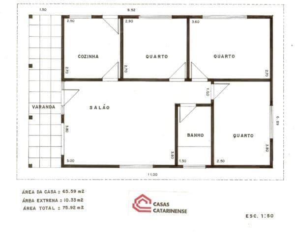 Projeto de casa pequena com 3 quartos