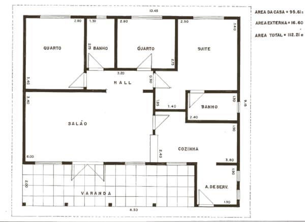 Projeto de casa grande com 3 quartos e 2 banheiros, sala, cozinha e área de serviço