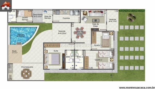 Projeto de casa com piscina, 3 quartos e espaço de churrasqueira